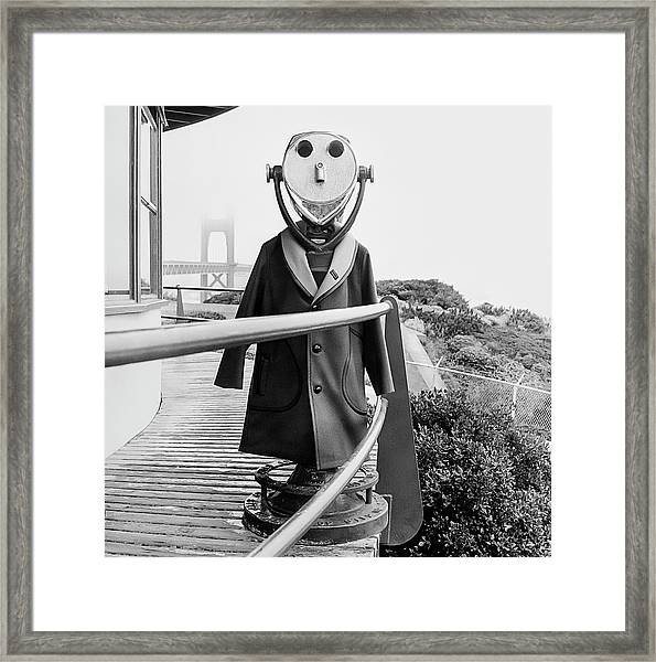 Coat On Binoculars Framed Print