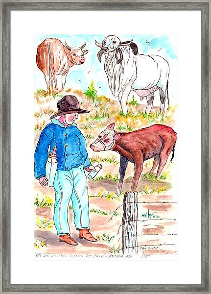Coaxing The Herd Home Framed Print
