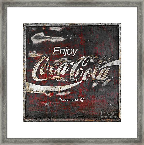 Coca Cola Grunge Sign Framed Print