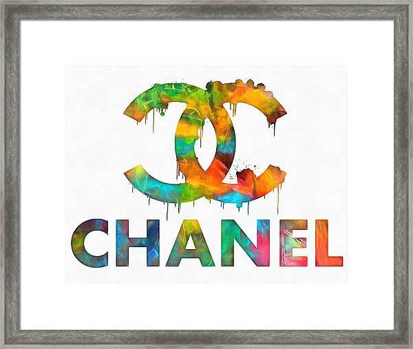 Coco Chanel Paint Splatter Color Framed Print