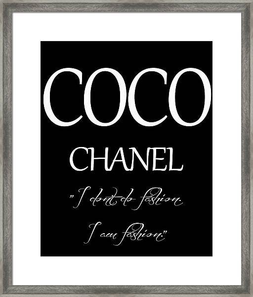 Coco Chanel Quote Framed Print