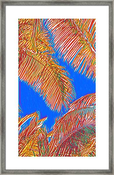 Coconut Palms In Red And Blue Framed Print