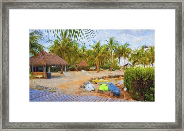 Coconut Palms Inn Beach Framed Print