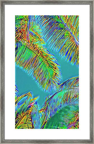 Coconut Palms Psychedelic Framed Print
