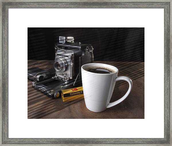 Coffe Cup And Camera Framed Print