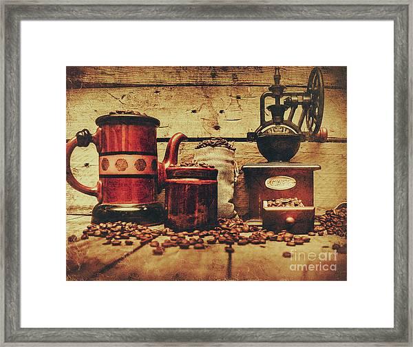 Coffee Bean Grinder Beside Old Pot Framed Print