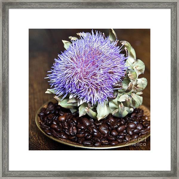 Coffee Beans And Blue Artichoke Framed Print