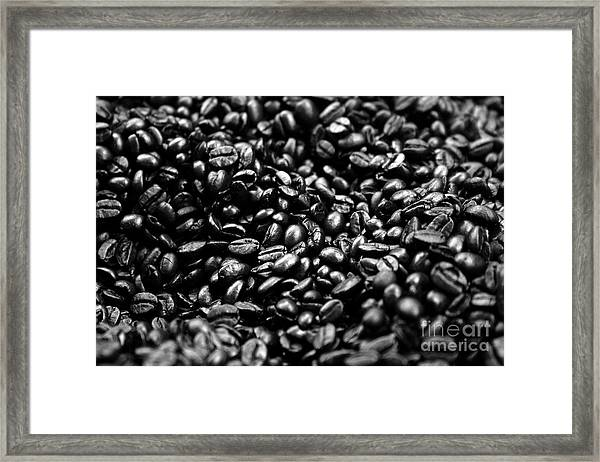Coffee Beans Bw Framed Print