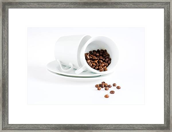 Coffee Cups And Coffee Beans  Framed Print