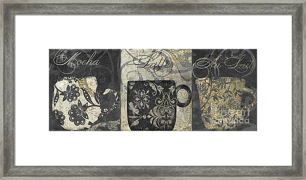 Coffee Flavors Gold And Black Framed Print