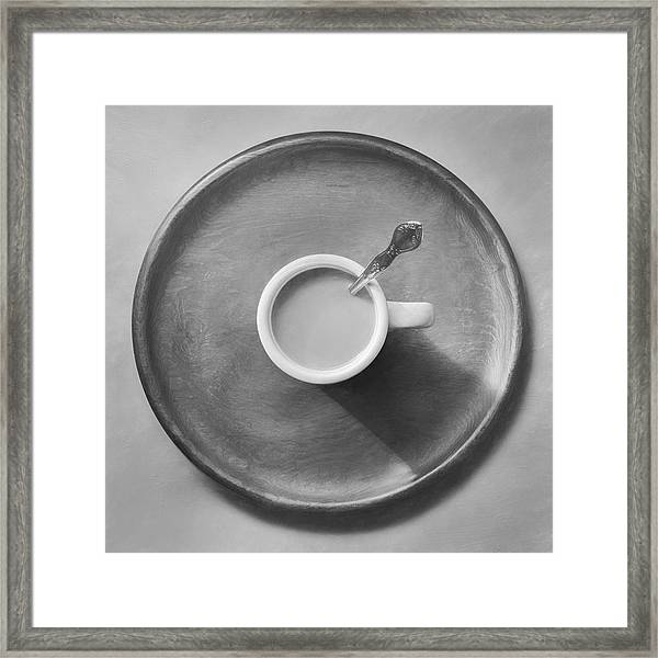 Coffee On A Wooden Tray Framed Print