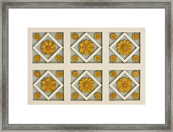 Coffered Ceiling Detail At Getty Villa Framed Print