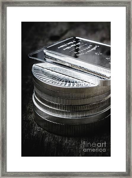 Coins Of Silver Stacking Framed Print