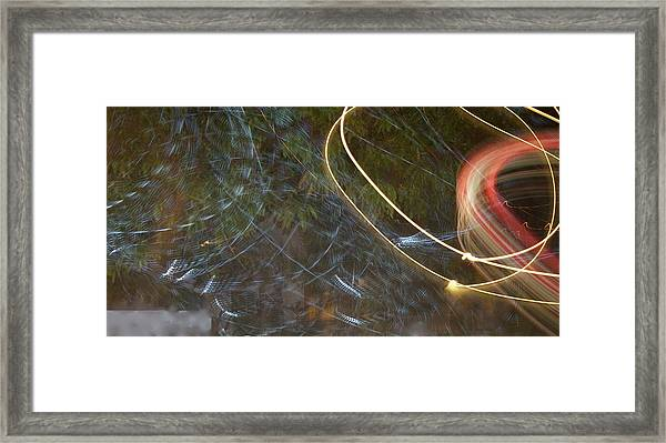 Framed Print featuring the pyrography Colliding Worlds  by Michael Lucarelli