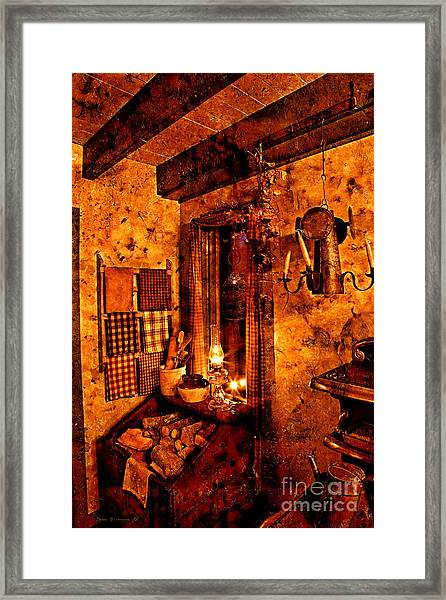Colonial Kitchen Evening Warmth Framed Print