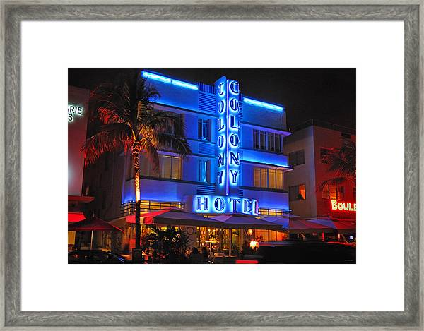 Colony Hotel On Ocean Drive Framed Print