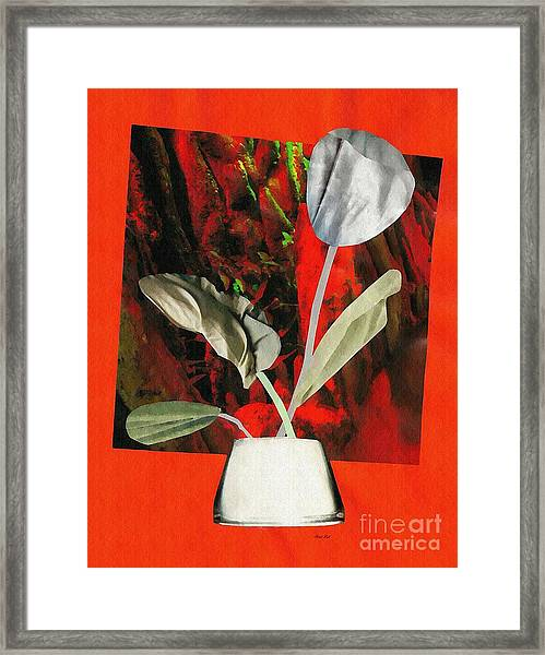 Color Drained Bouquet Framed Print