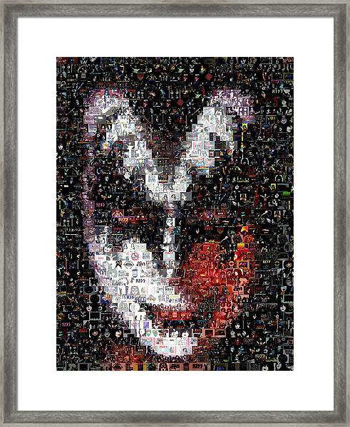 Color Kiss Gene Simmons Mosaic Framed Print