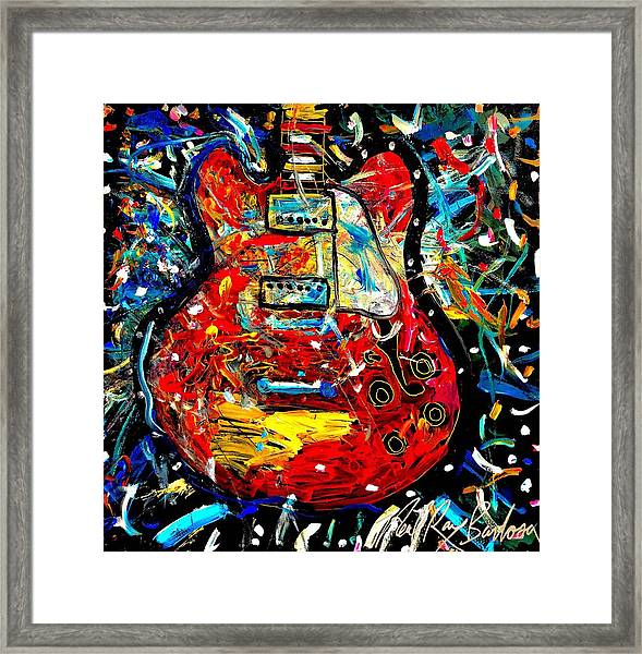 Color Wheel Guitar Framed Print