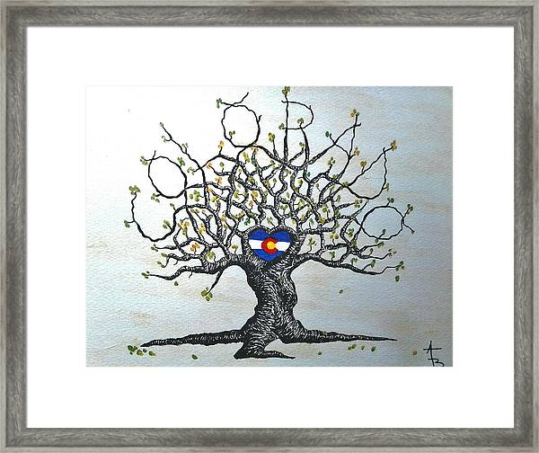 Framed Print featuring the drawing Colorado Flag Love Tree by Aaron Bombalicki