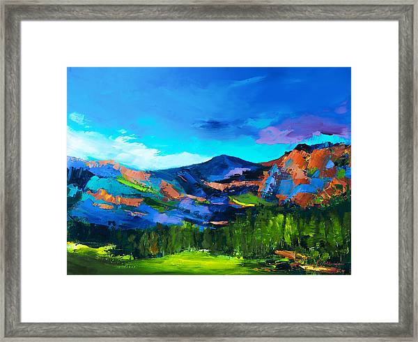 Framed Print featuring the painting Colorado Hills by Elise Palmigiani