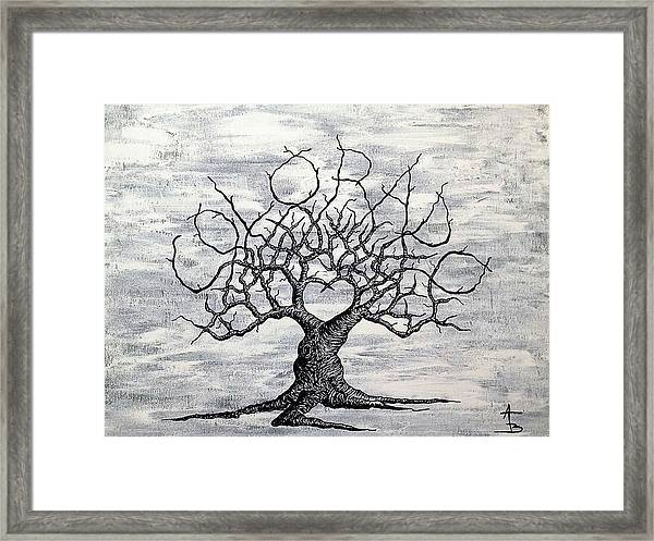 Framed Print featuring the drawing Colorado Love Tree Blk/wht by Aaron Bombalicki