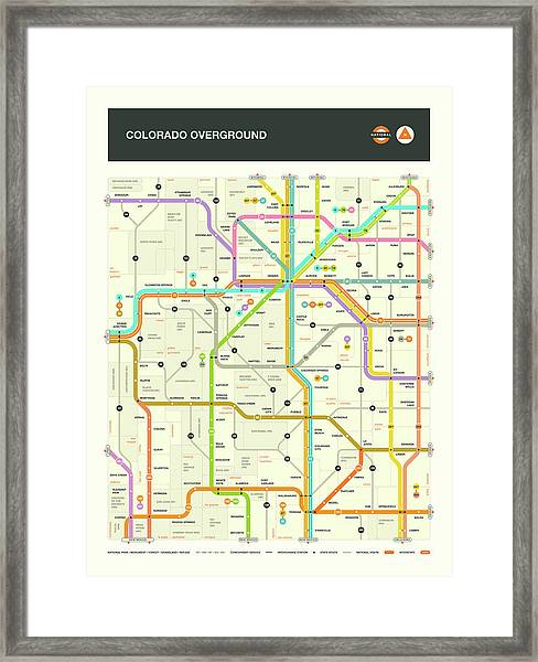 Colorado Map Framed Print by Jazzberry Blue