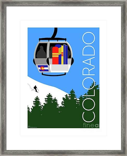 Colorado Ski Country Blue Framed Print