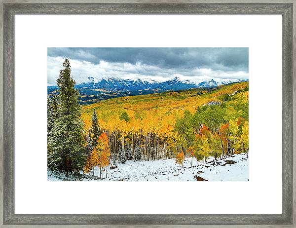 Colorado Valley Of Autumn Color Framed Print