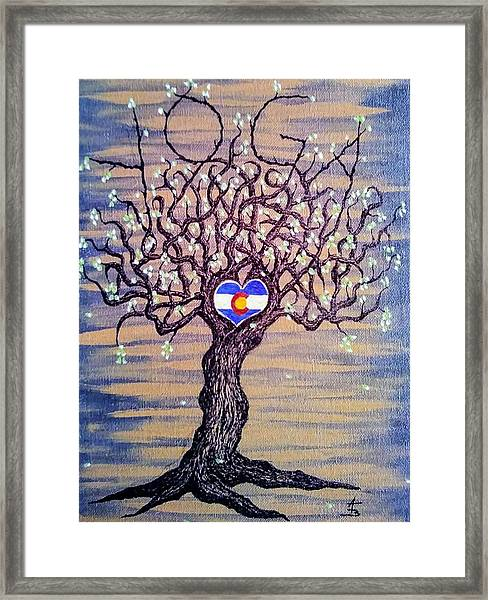 Framed Print featuring the drawing Colorado Yoga Love Tree by Aaron Bombalicki