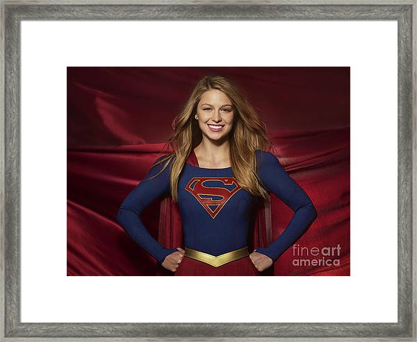 Colored Pencil Study Of Supergirl - Melissa Benoist Framed Print