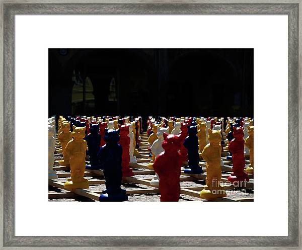 Colored People Cats Framed Print