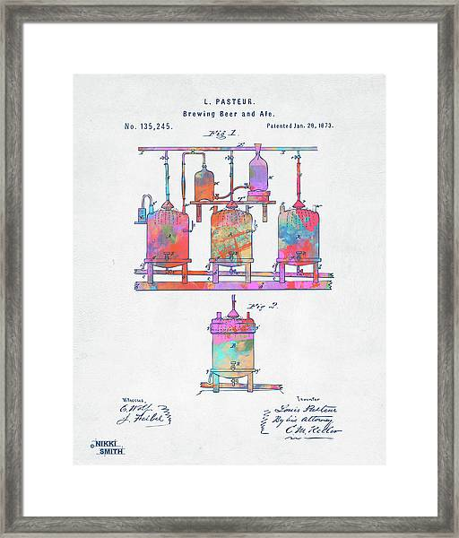 Colorful 1873 Brewing Beer And Ale Patent Artwork Framed Print