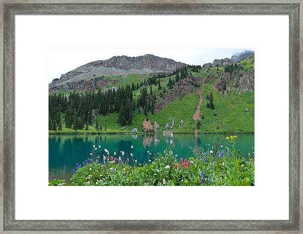 Colorful Blue Lakes Landscape Framed Print