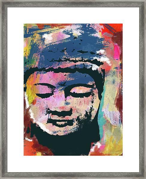Colorful Buddha 1- Art By Linda Woods Framed Print