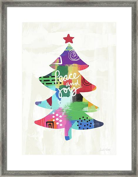 Colorful Christmas Tree- Art By Linda Woods Framed Print