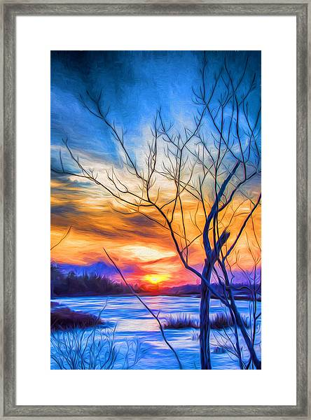 Framed Print featuring the digital art Colorful Cold Sunset by Beth Sawickie