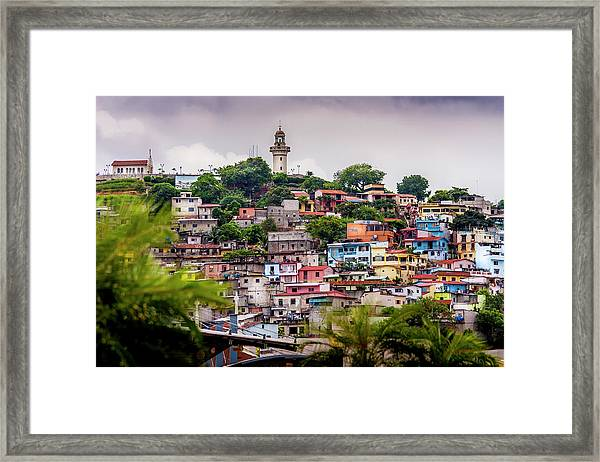 Colorful Houses On The Hill Framed Print