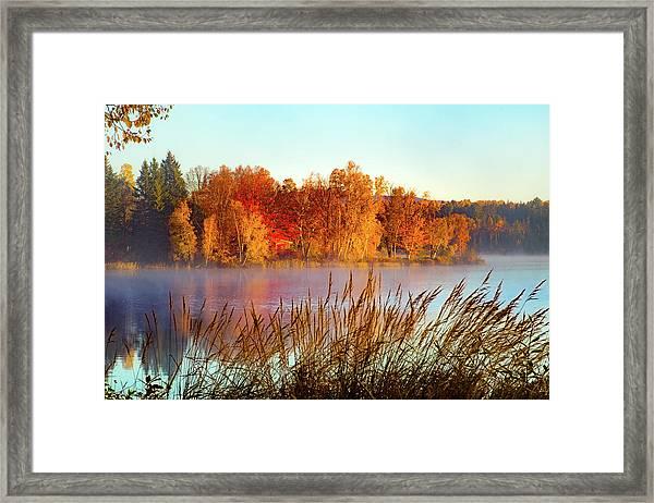 Colorful Dawn On Haley Pond Framed Print