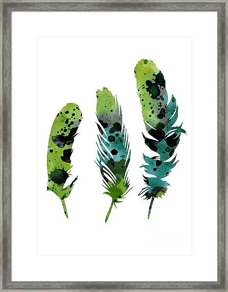 Colorful Feathers Minimalist Painting Framed Print