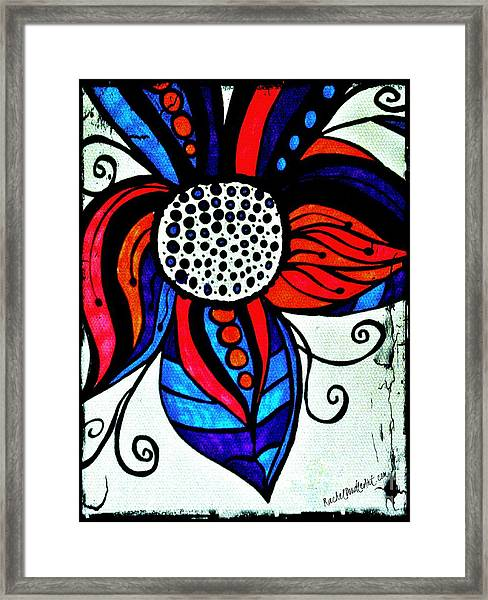 Framed Print featuring the drawing Colorful Flower by Rachel Maynard