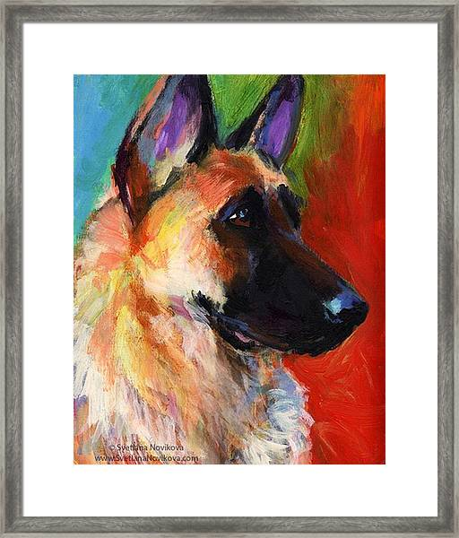 Colorful German Shepherd Painting By Framed Print