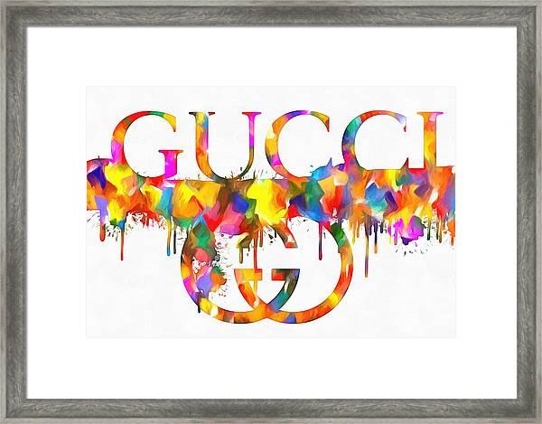 Colorful Gucci Paint Splatter Framed Print