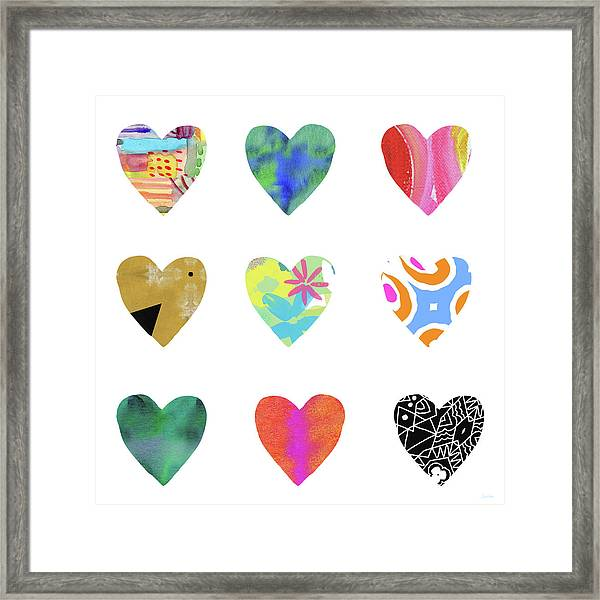 Colorful Hearts- Art By Linda Woods Framed Print