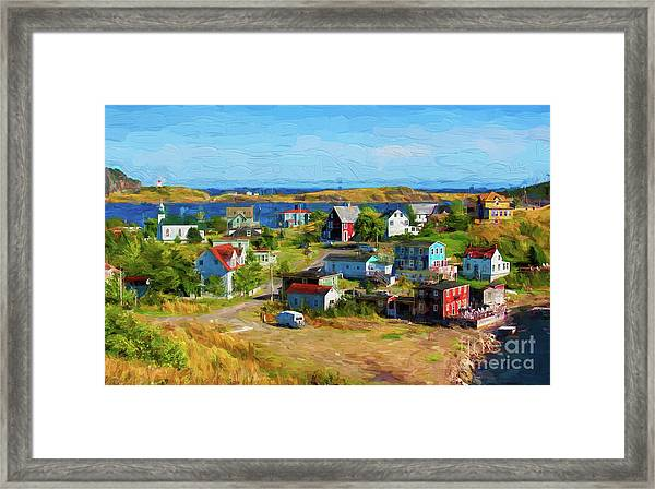 Colorful Homes In Trinity, Newfoundland - Painterly Framed Print