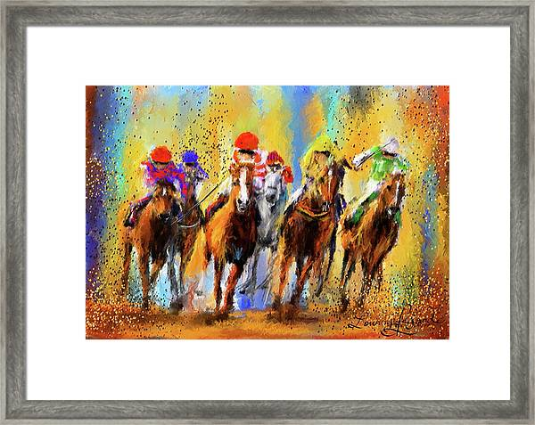 Colorful Horse Racing Impressionist Paintings Framed Print