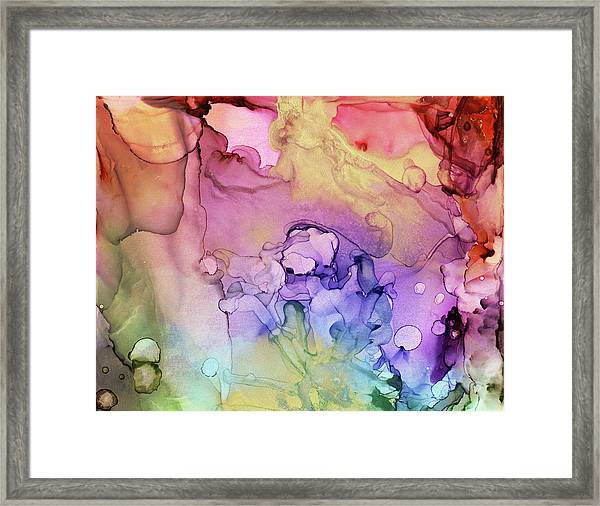 Colorful Ink Swirls With Gold Marble Framed Print