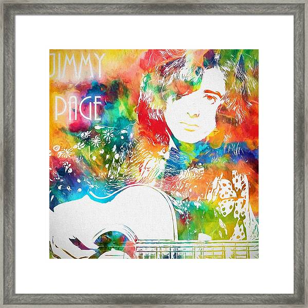 Colorful Jimmy Page Framed Print