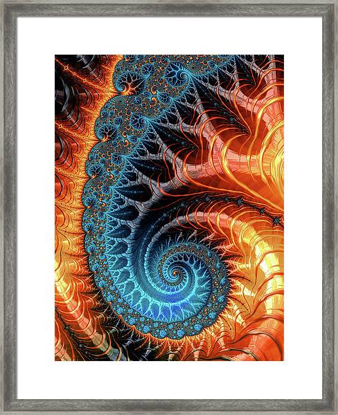 Colorful Luxe Fractal Spiral Turquoise Brown Orange Framed Print
