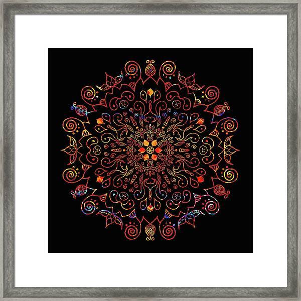 Colorful Mandala With Black Framed Print